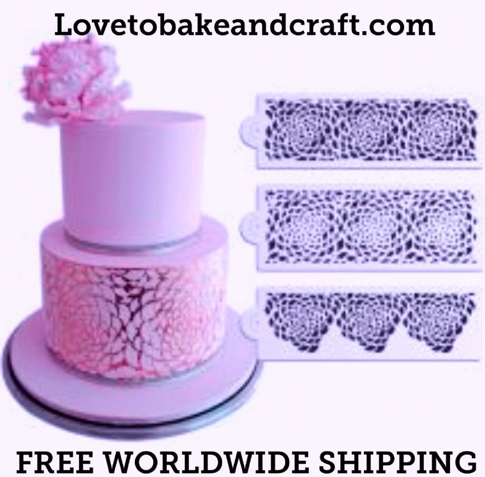 cake stencil 3 piece set flower cake stencil wedding cake stencil peony stencil free worldwide. Black Bedroom Furniture Sets. Home Design Ideas