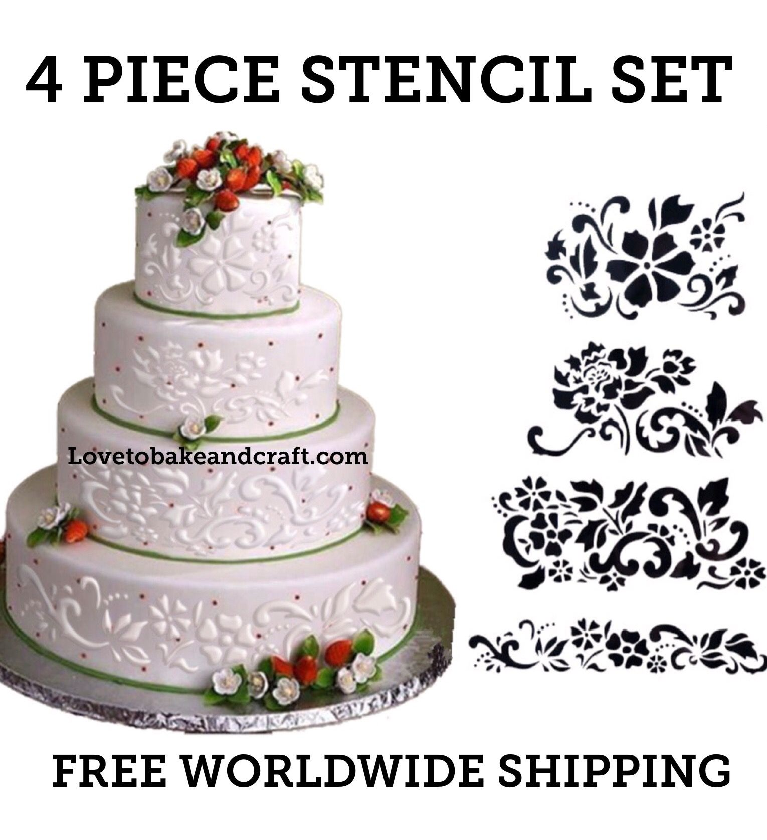 floral cake stencil 4 piece set flower cake stencil wedding cake stencil cake decorating. Black Bedroom Furniture Sets. Home Design Ideas