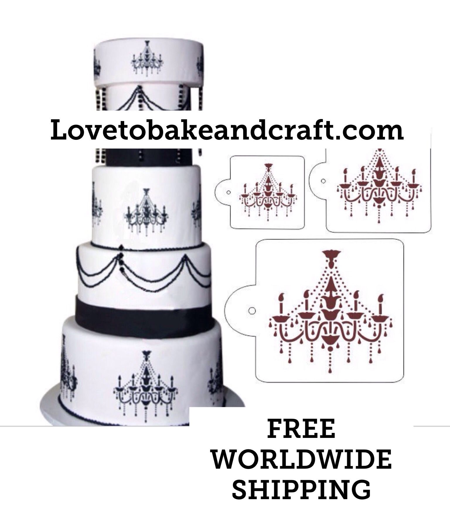 Chandelier Cake Stencil Wedding Decorating Free Worldwide 1 2 4
